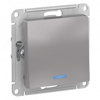 SE AtlasDesign Алюминий Выключатель 1-клавишный с подсветкой, сх.1а, 10АХ, механизм