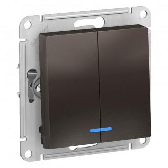 SE AtlasDesign Мокко Выключатель 2-клавишный с подсветкой, сх.5а, 10АХ, механизм