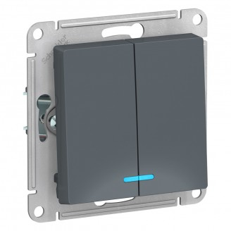 SE AtlasDesign Грифель Выключатель 2-клавишный с подсветкой, сх.5а, 10АХ, механизм