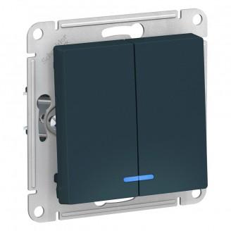 SE AtlasDesign Изумруд Выключатель 2-клавишный с подсветкой, сх.5а, 10АХ, механизм