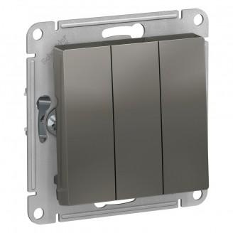 SE AtlasDesign Сталь Выключатель 3-клавишный сх.1+1+1, 10АХ, механизм