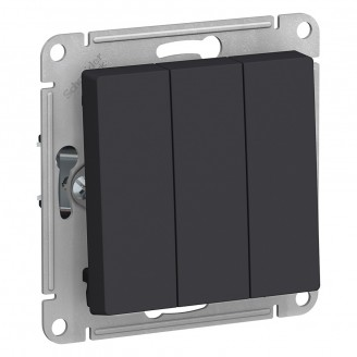 SE AtlasDesign Карбон Выключатель 3-клавишный сх.1+1+1, 10АХ, механизм