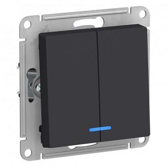 SE AtlasDesign Карбон Выключатель 2-клавишный с подсветкой, сх.5а, 10АХ, механизм
