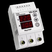 Реле напряжения/тока модульное 63А 220V DigiTOP (с контролем тока) VА-63А