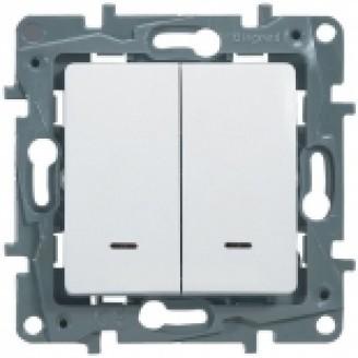 Выключатель 2-кл. с подсв. белый Legrand Etika