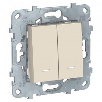 Выключатель 2 кл. с подсветкой Бежевый Unica New 2 мод.