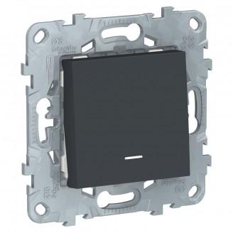 Выключатель 1 кл. с подсветкой Антрацит Unica New