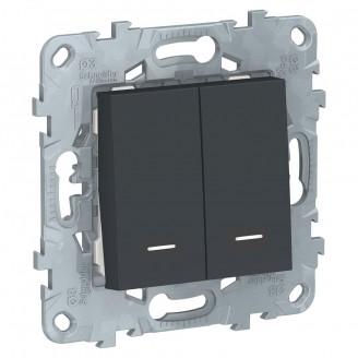 Выключатель 2 кл. с подсветкой Антрацит Unica New