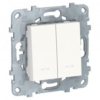 Выключатель 2 кл. с подсветкой Белый Unica New 2 мод.