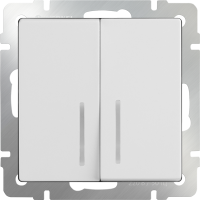 Выключатель 2-кл. с подсв. WERKEL (белый)