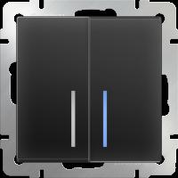 Выключатель 2-кл. с подсв. WERKEL (черный матовый)