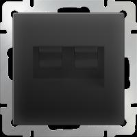 Розетка телефонная RJ-11 и Еthernet RJ-45 WERKEL (черный матовый)