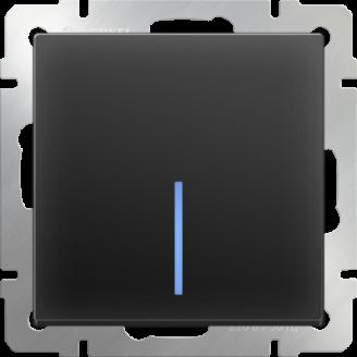 Выключатель одноклавишный проходной с подсветкой (черный матовый)