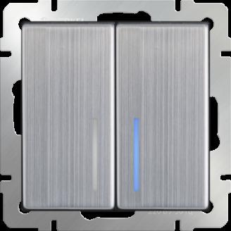 Выключатель 2-кл. прох. с подсветкой (глянцевый никель)