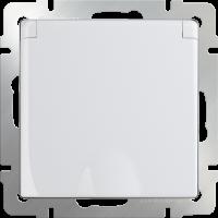 Розетка с з/к. с крышкой и шт. IP44 WERKEL (белая)