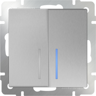 Выключатель   2-кл. с подсв. WERKEL (серебряный)