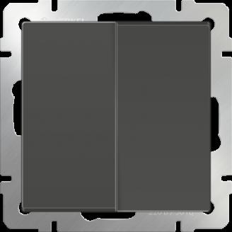 Выключатель двухклавишный проходной (серо-коричневый)