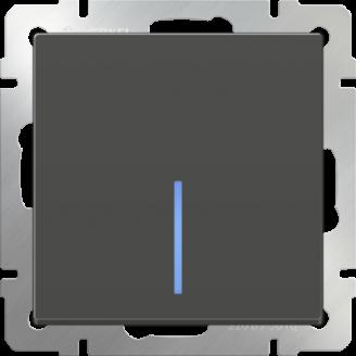 Выключатель одноклавишный проходной с подсветкой (серо-коричневый)