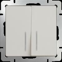 Выключатель 2-кл. с подсв. WERKEL (слоновая кость)