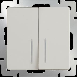 Выключатель двухклавишный с подсветкой (слоновая кость)