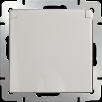 Розетка с з/к. с крышкой и шт. IP44 WERKEL (слоновая кость)